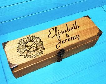 Wedding Wine Box-Sunflower Wine Box Ceremony-First Fight Box-Rustic Wedding Wine Ceremony-Wedding Gift-Sunflower Wine Box-Sunflower Wedding