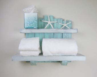 Handmade Wood Wall Shelves U2013 Beach Decor Above Toilet Shelves U2013 Large  Rustic Bathroom Shelves U2013