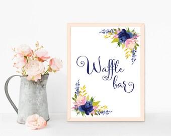 Wedding dessert table sign, Waffle bar sign printable, Navy blue wedding sign, Waffle sign, Dessert bar sign, Navy wedding table decorations