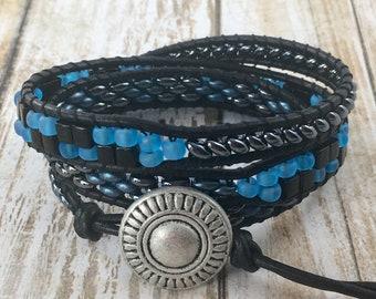 Wrap Bracelet, Boho Wrap Bracelet, Leather Wrap Bracelet, Beaded Wrap Bracelet, Beaded Bracelet, Leather Wrap, YoungBeadsCrafts