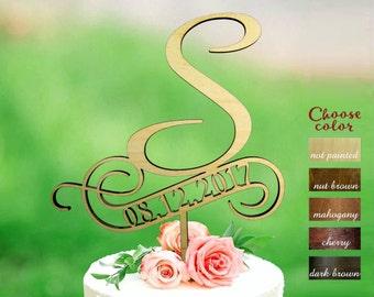 Letter s cake topper, rustic monogram cake topper, letter wedding cake topper, Wooden Cake Topper, cake topper s, Cake topper date, CT#125