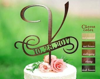 v cake topper, rustic monogram cake topper wedding, letter cake toppers, cake topper wooden, cake topper letter v, cake topper date, CT#222