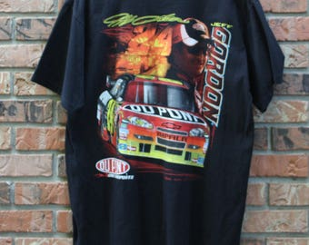 Vintage Jeff Gordon Big Graphic Du Pont Nascar Racing T-Shirt Men's Large