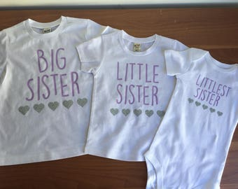 Big Sister Little Sister Littlest Sister Set, Big Sister Little Sister Outfit, Big Sister Shirt, Little Sister Bodysuit, Sisters Set