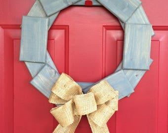 "Weathered Grey Wood Wreath with Burlap bow 18"" dia. Farmhouse wreath, front door wreath, rustic wood wreath, pine wreath, front door decor"