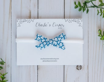 Blue and White Floral Schoolgirl Bow, Baby Girl Hair Bow, Baby Bow Headband, Hand tied Schoolgirl Bow