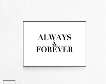 Always and Forever, Married Poster, Married Print, Wedding Print, Just Married Print, Mr and Mrs, Scandinavian Print, Forever and Ever