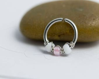16G 18G 20G Rose Frosted White Nose Hoop Ring or Cartilage Earring