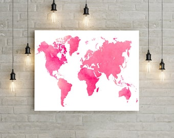 Pink World Map Wall Art, World Map Poster, Watercolor Map Print, Travel Wall Decor, Girl Nursery World Map Print, Travel Map Printable Art