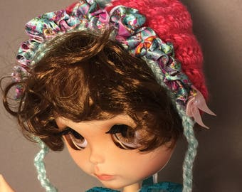 Unique, hand-crafted, OOAK Pink Pixie delight doll hat