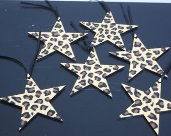 Set of 6 Leopard print stars