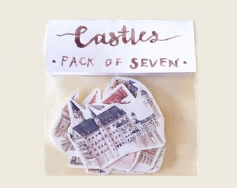 Castle Stickers, Watercolour Illustrations, Pack of Seven