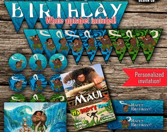 Maui Birthday Party Pack Bundle Disney Moana Vaiana Birthday Boy Decor Kit Instant Download Printable Personalized DIY Poster Invite Banner