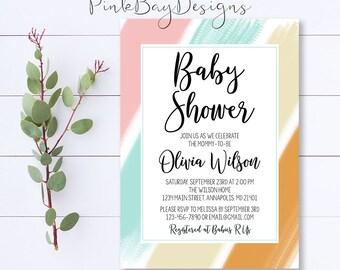 Pastel Baby Shower Invitation, Brush Stroke Baby Shower Invite, Pastel Shower Invitation, Baby Shower Invite, Pink And Blue Shower Invite