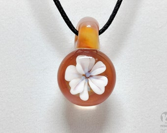 Blooming Glass Flower Pendant, Spring Necklace, Flower Necklace, Spring pendant, spring jewelry, flower jewelry, handmade jewelry, floral