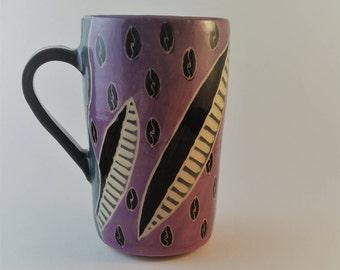 Pottery mug, hand carved , sgraffito, gift under 25