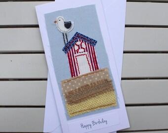 Birthday Card - Handmade - Hand Sewn Fabric - Seaside Beach Hut - Happy Birthday