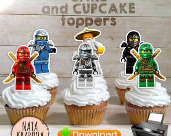 Lego Ninjago cake toppers, cupcake toppers - 8 files - Ninjago Printables Party Supllies - - Instant Download