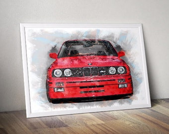 BMW M3 E30 Printable, Bmw Print, Big Boy Printable Car Wall Art, Boy