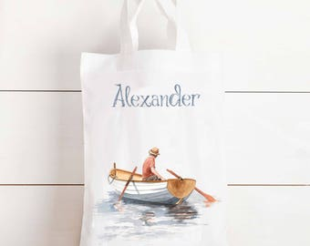 Baby boys boat gift bag - personalised gift bag, baby shower gift, new baby, newborn, fishing boat, rowing boat, tote bag, personalised bag