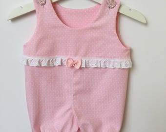 Baby Girls Romper - Matching Headband - Baby Summer Romper - Broderie Anglaise Trim - Stretch Cotton Romper - Pink Polka Dot Romper