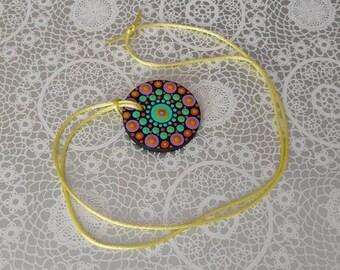 FREE SHIPPING / Hand Painted Necklace #B1 / Mandala / Dot Jewelry / Mandala Art / Dot Painted Pendant / Painted Wooden Necklace