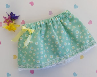 Daisy Print Girls Skirt, Girls Fashion, Girls Clothing, Summer Holiday, Children's Clothing, Pretty Skirt, Cotton, Green, Elasticated, Bow