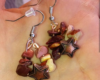 Amber and copper earrings