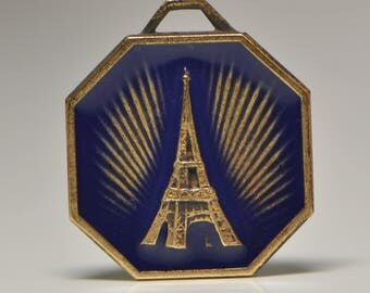 Small French Eiffel Tower Enameled Medal Raw Brass Gold Toned Dark Blue Pendant Charm 1D 530J