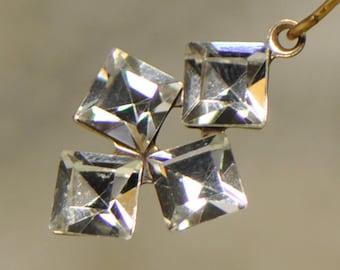 Glass 4 Square Rhinestone Drops Pendants Charms 1 Piece FE1