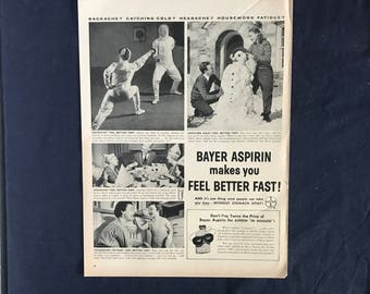 Vintage Bayer Aspirin As, Bayer Aspirin Makes You Feel Better Fast!