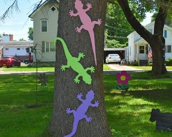 Gecko Outdoor Wall Art, Lizard Outdoor Wall Decor, Tropical Gecko Tree Fence, Wall Decoration, Salmander Outdoor Decoration, Set of 3 Geckos