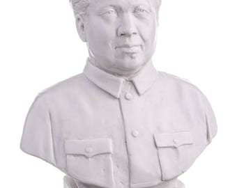 Chinese Leader Chairman Mao Zedong / Tse-tung Marble Bust / Statue 19cm (7.5'') white