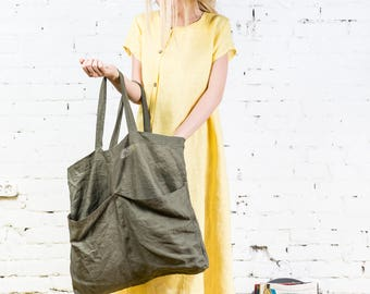 Linen shopping bag, Linen beach bag, Natural linen, Vegan bag, Big tote bag, Summer bag, Linen tote bag/LT0004