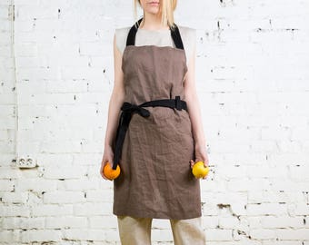 Linen Pinafore apron / Square Cross Linen Apron/Japanese Apron /Washed long apron / linen top /linen tunic /linen apron /summer tunic/LA0002