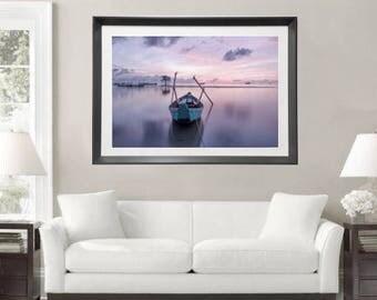 Sunrise Print Seascape Photography Boat Photo Download Ocean Sunset Print, Large Wall Art, Nautical Decor, Coastal Art, Fine Art Photography