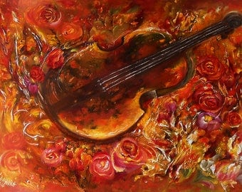 Violin art wall still life painting framed, Still life oil wall art violin, Wall violin oil painting original, Violin decor still life music