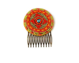 Tribal Hair Piece Fusion Hair Piece Beaded Hair Comb Orange Hair Comb Embroidered Comb Beaded Rosette Kuchi Accessories Bohemian Hairpiece