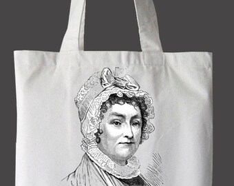 """Abigail Adams """"Nevertheless, she persisted"""" tote bag."""