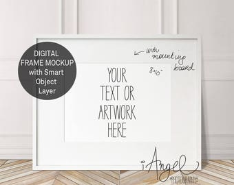 White Horizontal 8x10'' Frame Mockup with mounting board, Frame Mock up, Poster Mockup, Hipster minimalism, Styled Photo, High Res #224AH