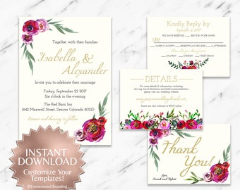 Burgundy and Red Bohemian Floral Printable Wedding Invitation Set Instant Templates