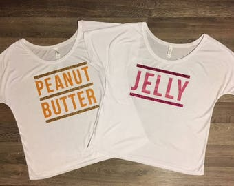 Peanut Butter and Jelly Womens Tank Tops or T-Shirts, Best Friend Shirts, Custom Design
