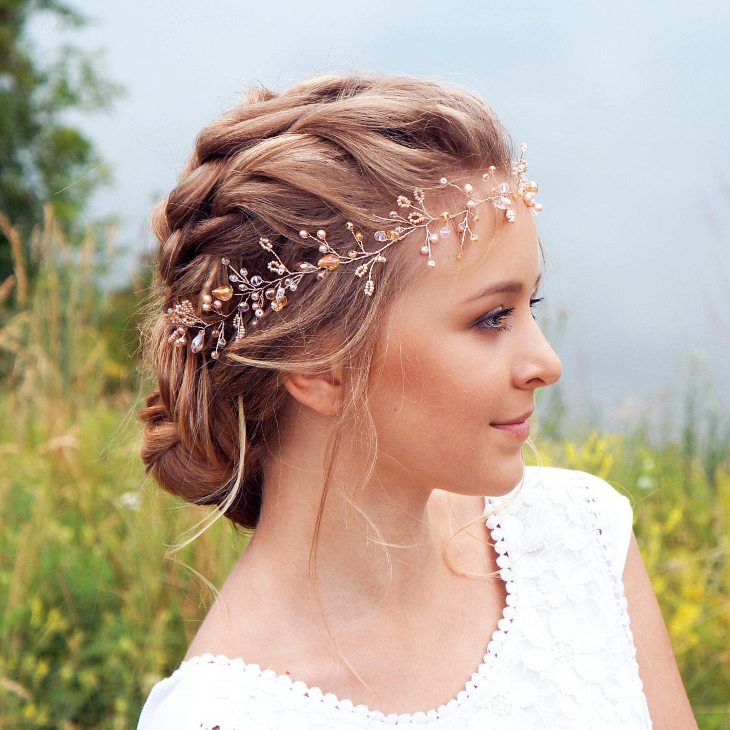 bridal hair vine-wedding hair vine-rose gold hair vine long