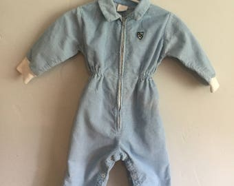 Vintage 1970s Infant Boys Blue Corduroy Long Sleeve Jumpsuit Medium