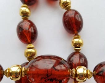 Vintage Crown Trifari Faux Amber bead Necklace