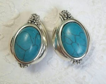Premier Designs vintage silver and turquoise clip on earrings