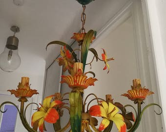 Large shabby chic tole chandelier large chandelier floral tole 1940