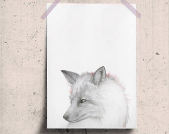 Printable Fox Wall Art, Fox Portrait, Fox Art Gallery, Woodland Fox Face, Download Animal Art, Forest Animal Poster Pencil Drawing Art Print