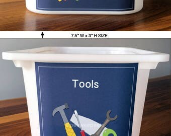 Tool decal, toy bin labels, toy tool storage, toy box label, playroom labels, organizational labels
