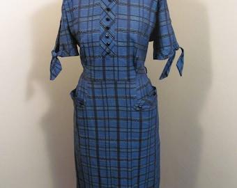 Vintage 1950s blue and black  Kay Ashton sheath dress